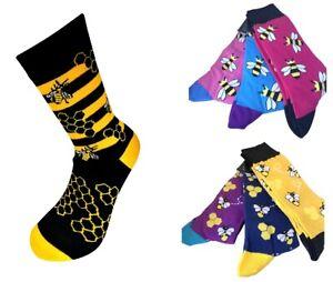 Unisex Bumble Bee Novelty Socks, Mens & Womens sized. UK Free Postage