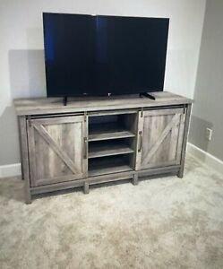 """Better Homes & Gardens Modern Farmhouse TV Stand for TVs up to 70"""", Rustic Gray"""