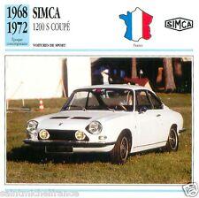 SIMCA  1200 S COUPE 1968 1972 CAR VOITURE FRANCE CARTE CARD FICHE