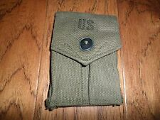 U.S MILITARY ISSUE 45 AUTO MAGAZINE POUCH FOR TWO CLIPS GREEN CANVAS VINTAGE