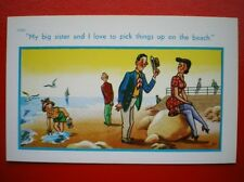 POSTCARD COMIC MY BIG SISTER LOVE TO PICK UP THINGS ON THE BEACH