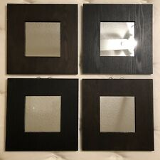 "IKEA Set Of 4 Framed Mirrors 14"" Wall Decor Malma Modern Art Black Wood Square"