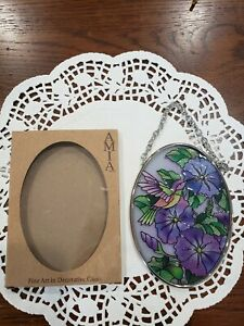 Amia Hand Painted Glass Suncatcher Morning Glory and Hummingbird 3.25 by 4.5 in.