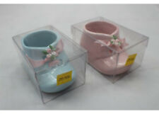 "Vintage 2 Boy Girl Ceramic Baby Shoe Bootie Newborn Baptism Birthday 3.5""x2""x2"""