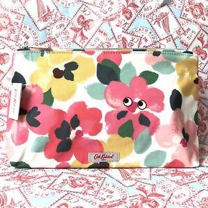 CATH KIDSTON Painted Pansies with EYES Zipped Make Up Bag ~ BNWT ~ Kitson Kidson