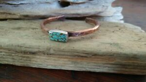 Copper Turquoise Cuff Bracelet, Unisex Cuff