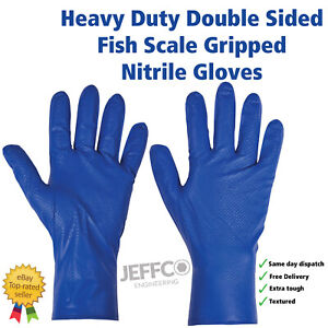 Blue Nitrile Gloves Heavy Duty Fish Scale Grip Mechanics Latex Free PG900