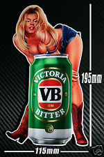 VB Beer Can Pin Up Girl Sticker Speedway Hot Rod Toolbox Bar Fridge Man cave BBQ