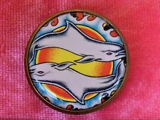 "1"" Porpoise Sun Waves Japan Asia Tattoo Ink Metal Shank Button Sewing Craft Ta14"