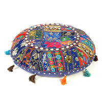 Dark Blue Round Floor Cushion Round Seating Bohemian Patchwork Pillow Cover