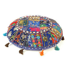 Dark Blue Round Floor Cushion Round Seating Bohemian Patchwork Pillow ThrowCover