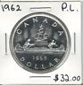 Canada 1962 Silver Dollar $1 PL Proof Like
