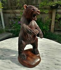 More details for large antique hand carved wooden standing bear ' black forest ' statue - 16