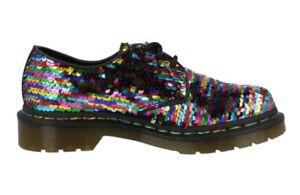 Dr Martens Black & Multi Rainbow Lace Up Shoes Docs 1461 Size 6 39 BNIB