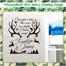 Personalized Name & Deer Antlers Two Hunting Wall Vinyl Sticker Decor Decal 093