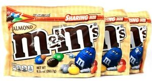 3 Bags M&M's 9.30 Oz Almond Sharing Size Resealable Zipper Chocolate Candies