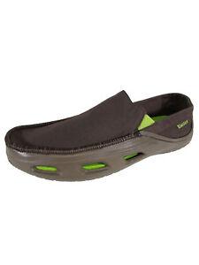 Crocs Mens Tideline Sport Canvas Shoes, Espresso/Volt Green, US 7