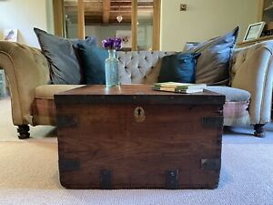 Old CHEST, ANTIQUE Wooden Blanket TRUNK, Coffee TABLE, Vintage, Storage Toy BOX