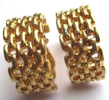 boucles d'oreilles clips bijou vintage signé VENDOME demi anneau plaqué or 2041