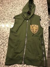 BALMAIN EMBROIDERED BADGE GREEN SLEEVELESS HOODIE