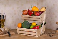 2 Tier wooden Vegetable fruit food storage rack white pine