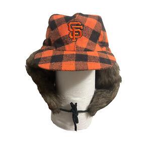 San Francisco Giants Winter Fur Hat Two Flaps Beanie Orange Plaid Cap 2016 SGA