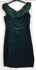 vintage vivien smith green velvet dress bardot neck small