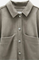 BNWT ~Zara ~ Bloggers Sold Out Grey Faux Suede Oversized Shirt/Shacket ~ L~ £50