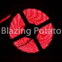 LumenWave 5M 5630 IP65 Waterproof Flexible 300 LED Strip Lights -White PCB- Red