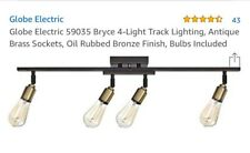 Globe Electric 4-Light Antique Brass Sockets Track Lighting Kit with Oil Rubbed
