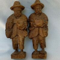 Vintage Old Man Wooden Statue Hand Carved Figurine