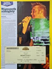 Morrissey 2002 comeback tour ticket backstage guest pass Royal Albert Hall Londo