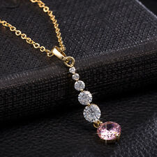 Cute lovely Pink CZ long Pendant Womens Girls Chain Necklace set  Gold Filled