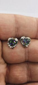 Estate Jewelry Beautiful Mystic Topaz & Genuine Diamonds Heart Shape Earrings