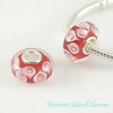 CALLA LILY RED FLOWER MURANO GLASS .925 Sterling Silver EUROPEAN Bead Charm