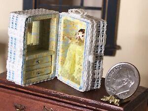 Vintage Artist Tiny Doll & Blue Yellow Trunk Dollhouse Miniature 1:12