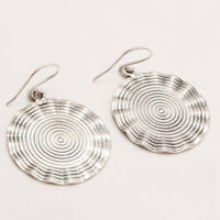 925 Sterling Silver Hammered Earrings Women Vintage Antique Retro Ethnic Jewelry