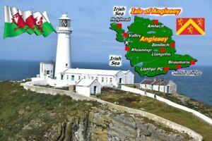 Anglesey Carte / Drapeau - Souvenir Nouveauté Réfrigérateur Aimant, Sites /Neuf/