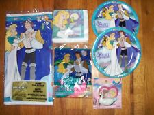 7pc Lot of 1994 Unique Swan Princess Multi-color Birthday Party Goods NOS