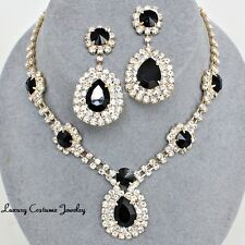 Elegant Wedding Evening Pageant Gold Black Crystal Pear Costume Necklace Set