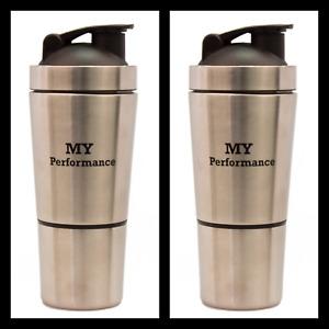 2 MyPerformance Fitness Edelstahl Shaker Eiweiß Protein 600ml Sportflasche