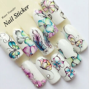 Nail Art Water Decals Stickers Transfers Spring Flowers Floral Butterflies (509)