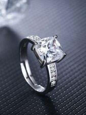 3.00Ct Cushion Cut Diamond Solitaire Wedding Engagement Ring 14K White Gold Over
