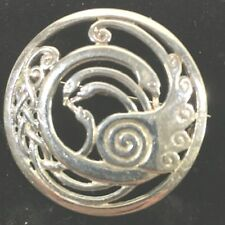 Signed 925 Sterling Silver Celtic Brooch Circle Swans Ireland