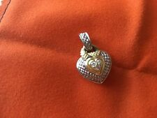 Judith Ripka 2 Pave Diamond, Silver, Gold Heart Pendant in new condition