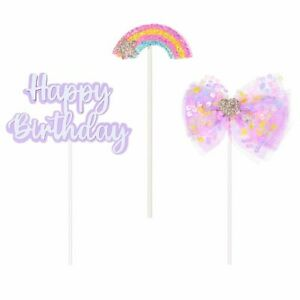 Sequins Creativity Cake Decoration Cupcake Topper Bow Cake Toppers Rainbow