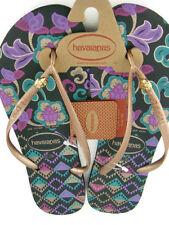 Havaianas Slim Royal Women's Floral Flip Flops,Black,New,11/12W,43/44EUR,0413