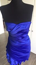 $300 NWT Calvin Klein Cobalt Blue Form-Fitting Ruched Layers Cocktail Dress Sz 2