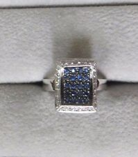 0.71ctw 18k White Gold Blue Sapphire and Diamond Ring 5.6g