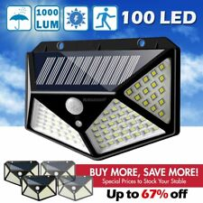 100 LED Solar Powered Light Outdoor Wireless Motion Sensor Wall Yard Garden Lamp